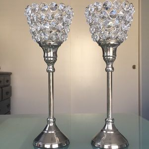 Silver and Rhinestone Candle holders